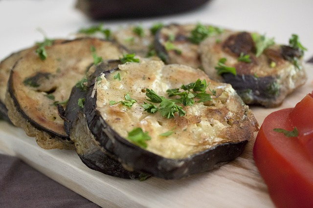 Grilled cheesy eggplant rounds
